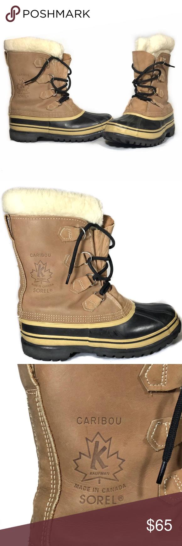 sorel s caribou wool boots buff beige size 9 beige shoe