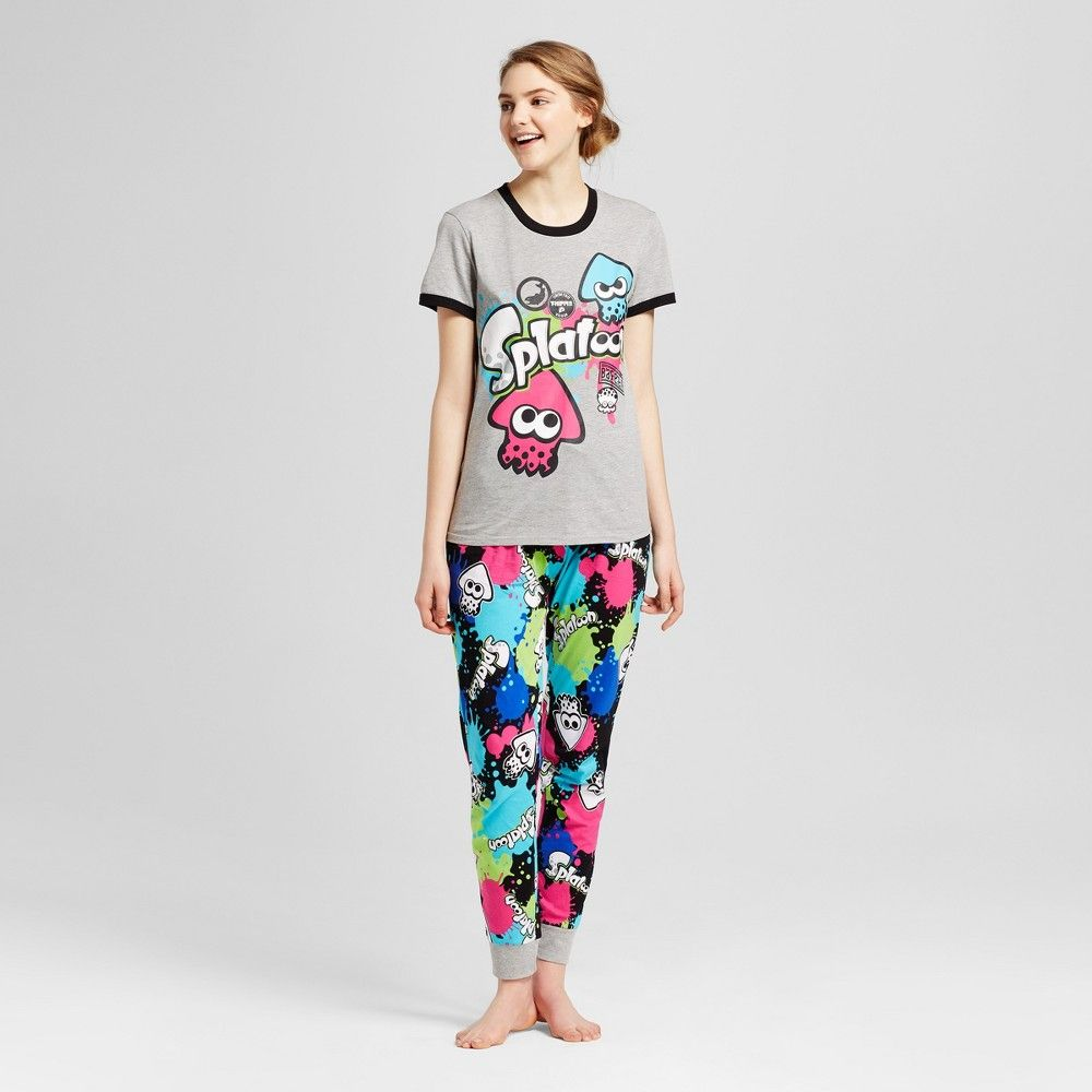943f1bc603 Nintendo Women s Tee   Jogger Pajamas Set - Splatoon - Heather Grey ...