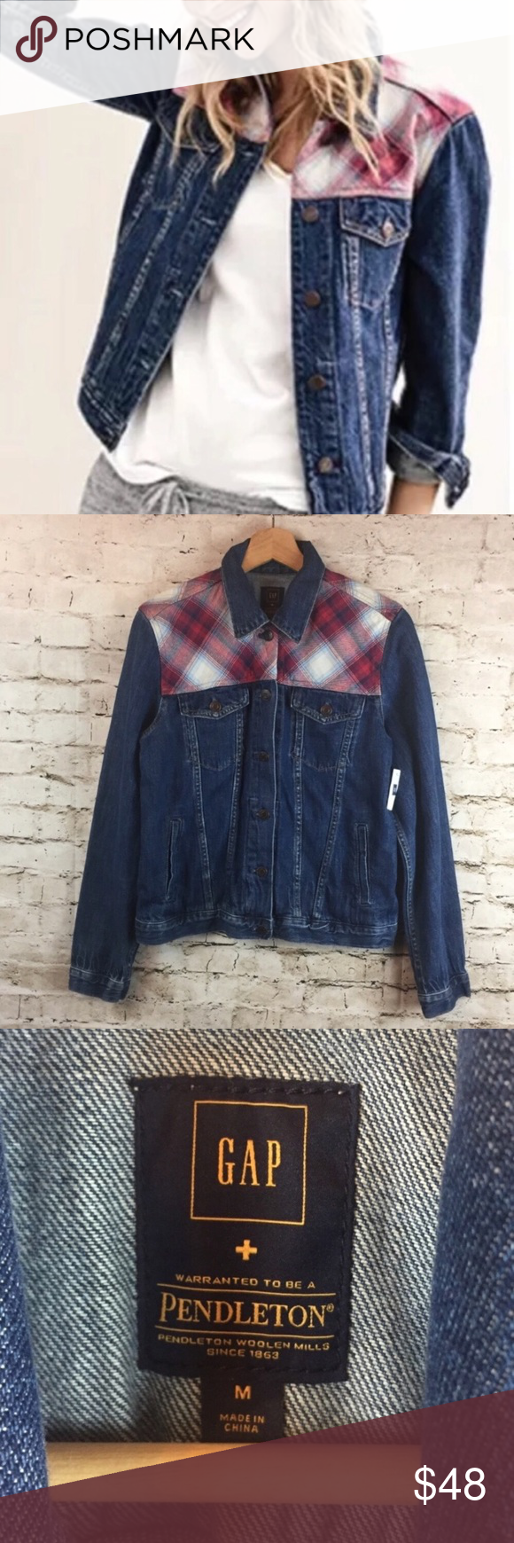 Nwt Gap Pendleton Denim Jean Jacket Size Medium Denim Jacket Clothes Design Pendleton [ 1740 x 580 Pixel ]
