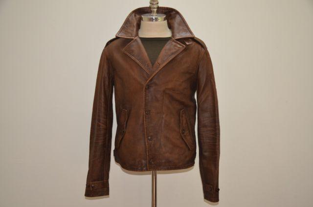 0bb9b3b13 Polo Ralph Lauren M41 Distressed Brown Leather Biker Jacket