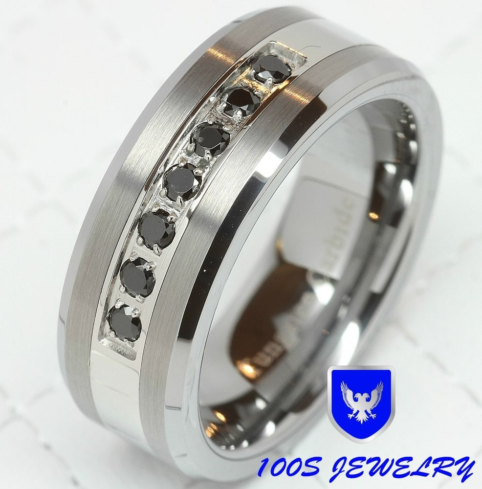 Details About 8mm Mens Tungsten Ring Black Diamond Inlay Center