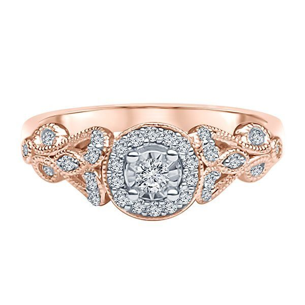 15 ct tw Diamond Illusion Engagement Ring in 10K Rose Gold