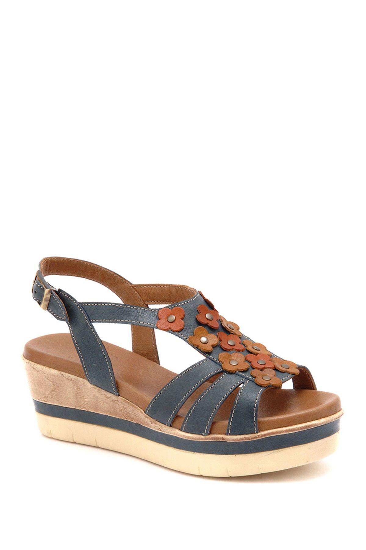 150f0663555 Beta Mavi Kombin Leather Platform Wedge Sandal