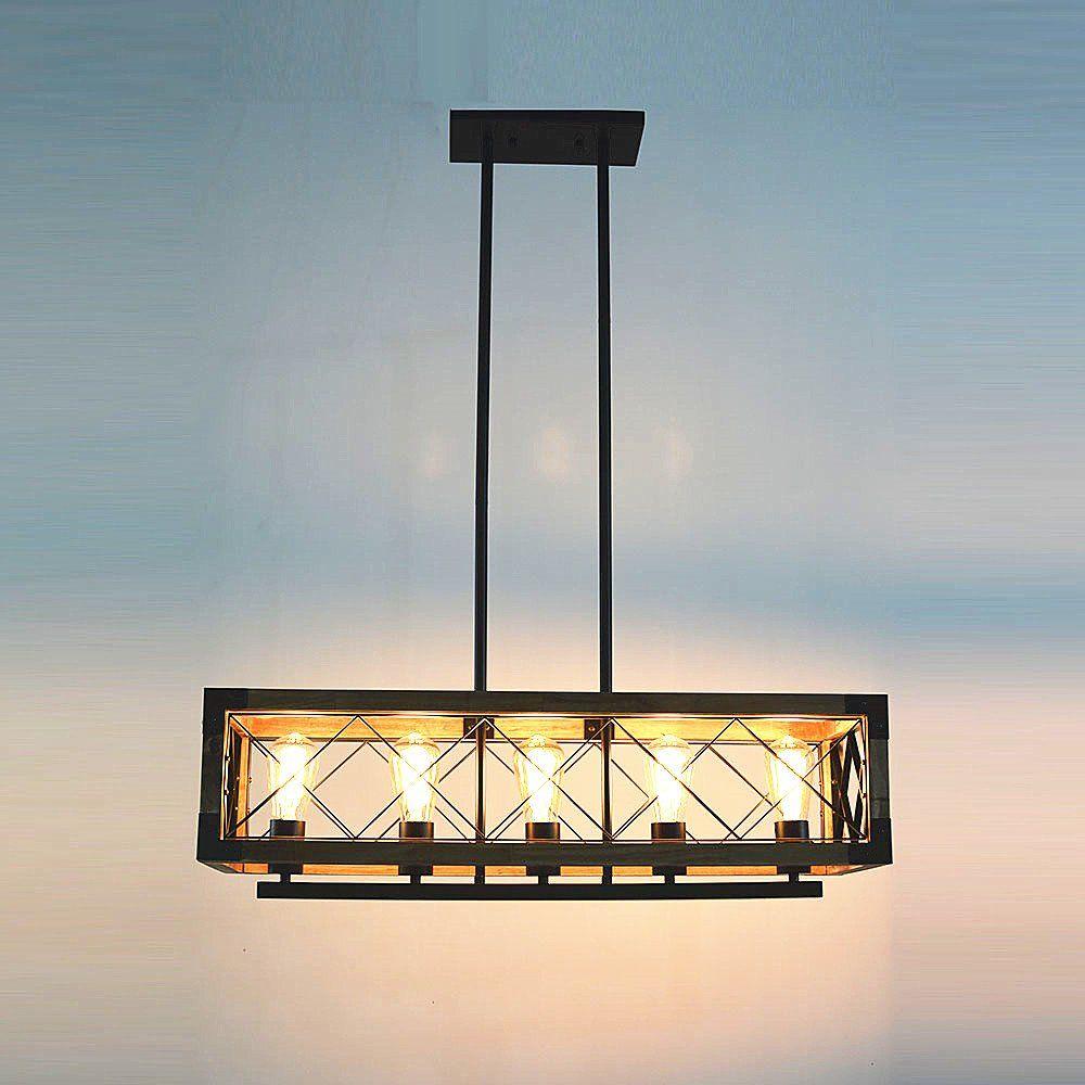 Miraculous Baiwaiz Rustic Kitchen Island Lighting 5 Light Rectangle Home Remodeling Inspirations Cosmcuboardxyz