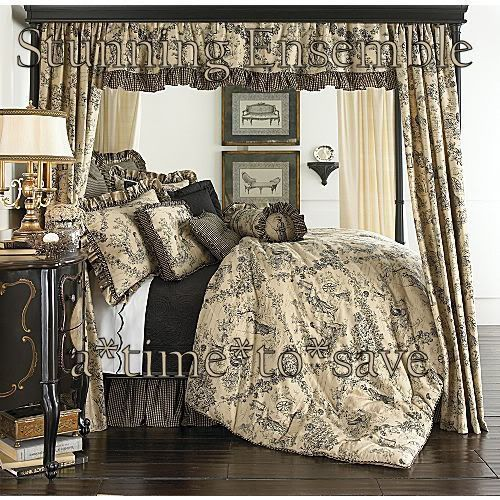 New ENCHANTED TOILE FULL French Country PRIM Linen Black Tan Gold Comforter Set