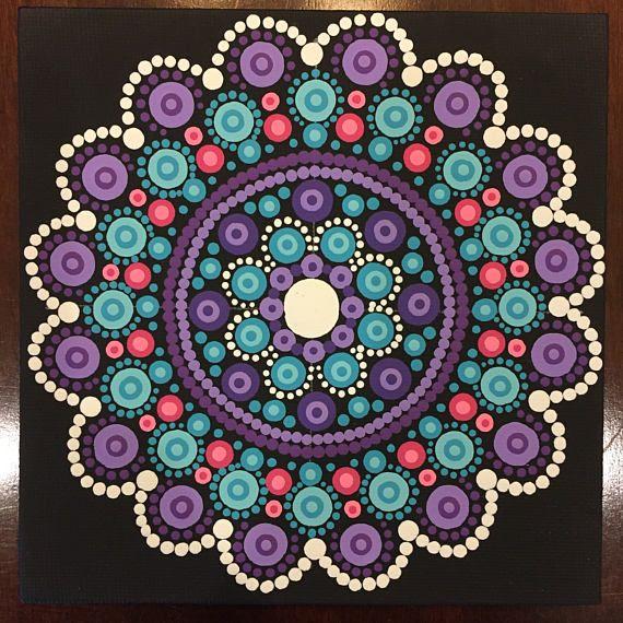 Handmade 5x5-inch Dot Mandala on Canvas Dotilism Dot | dot