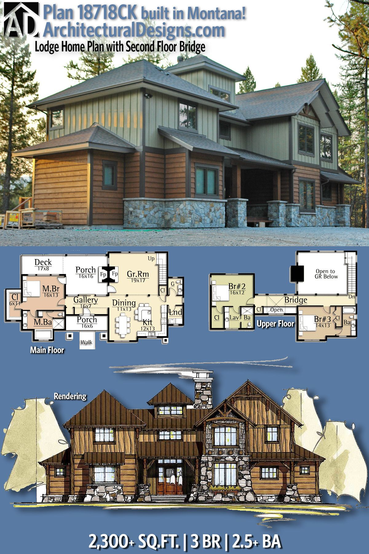Architectural Designs Mountain House Plan 18718CK has