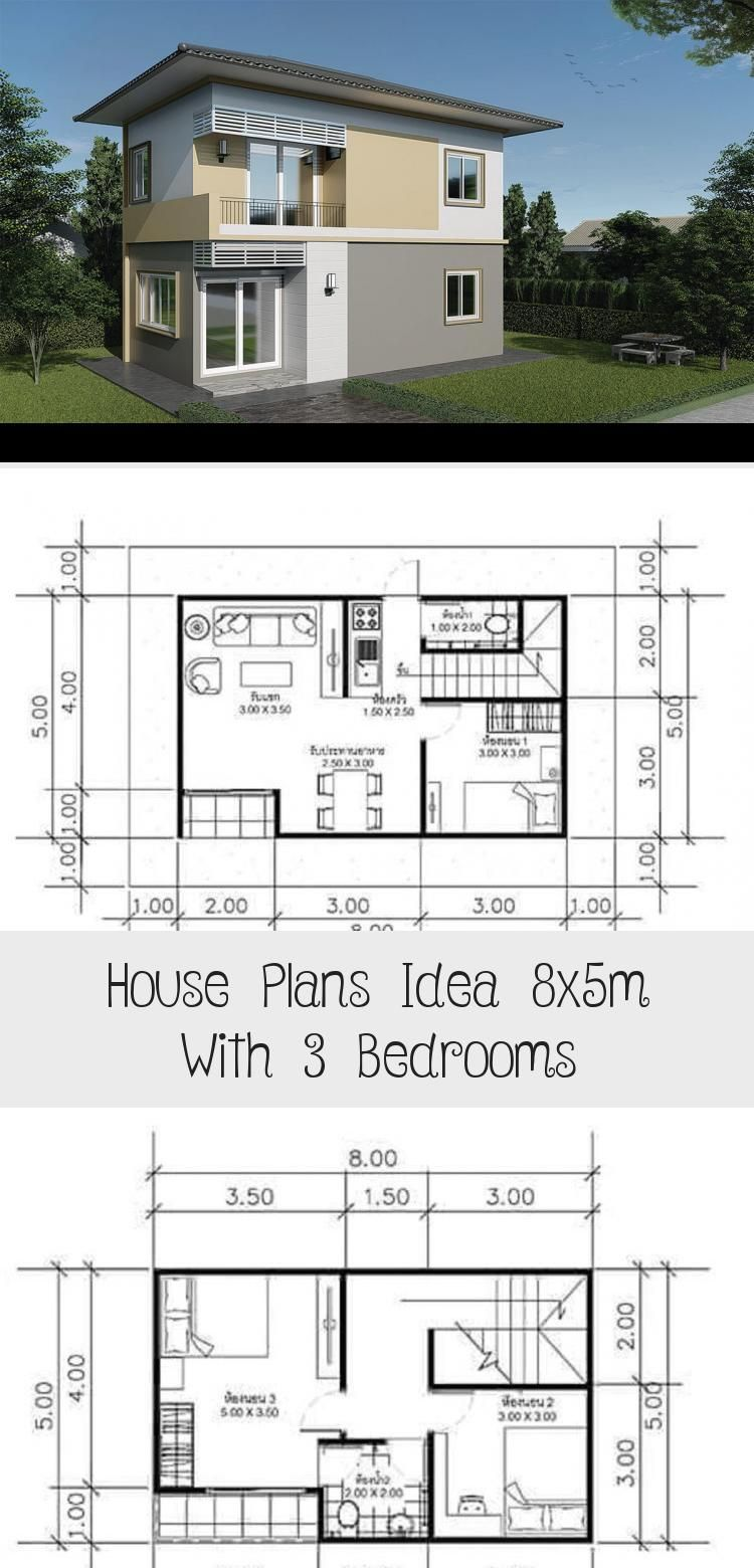 House Plans Idea 8x5m With 3 Bedrooms Sam House Plans Smallhouseplanstwo Smallhouseplans2floors Smallhousep In 2020 House Plans Small House Plans Small House Plan