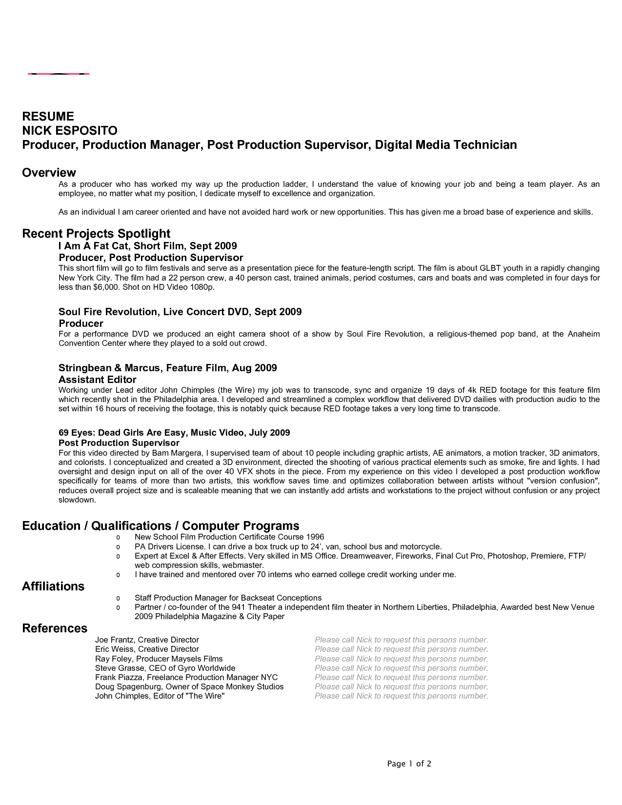 film producer resume google search - Production Resume Sample