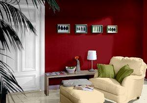Farbgestaltung für ein Wohnzimmer in den Wandfarben: Rot, Ziegel ...