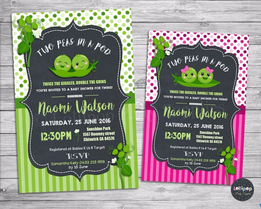 Peas in a pod baby shower personalised invitations sweet pea invites ...