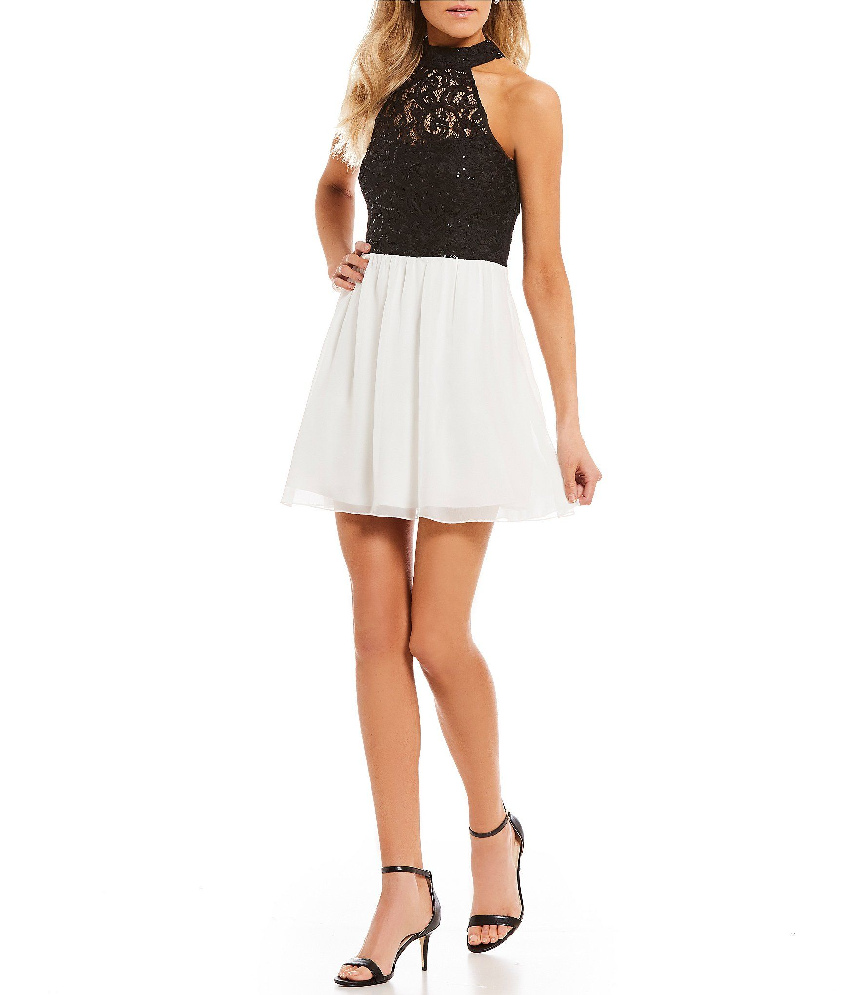 ddad52f2be7 Xtraordinary Mock Neck Sequin Lace Bodice FitAndFlare Dress  Dillards