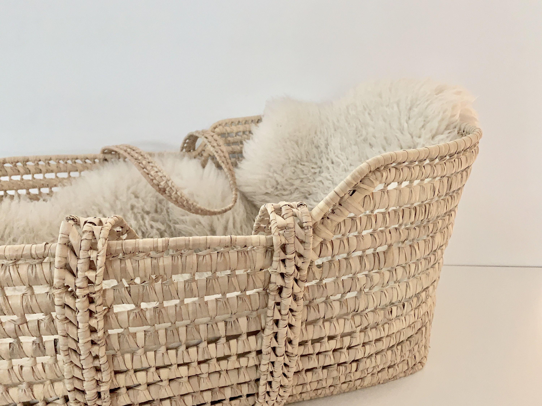 Vintage Rattan Bassinet Moses Crib Wicker Bassinet Boho Baby