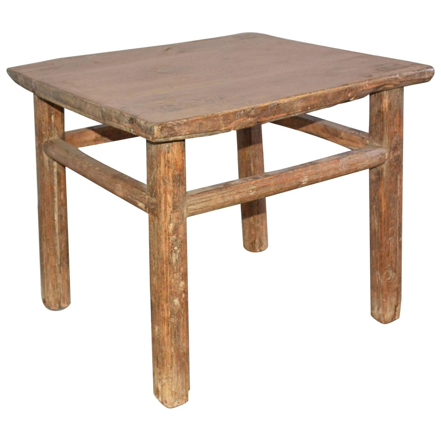 Rustic Asian Style Wood Side Table