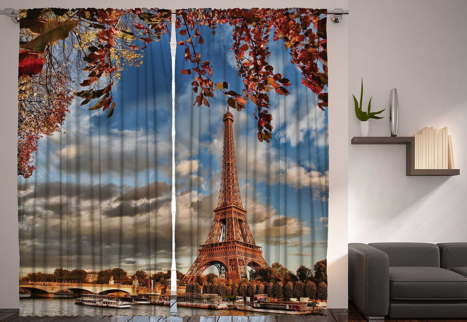 Paris Decor Eiffel Tower Fall View Falling Leaves River Bridge Bedroom Living Room Kids Youth Room Curtains 2 Panels Cityscape Decorations for The Home Machine Washable, 108x90 Brown Blue Gray >>> Read more at the image link. (This is an affiliate link) #WindowTreatments