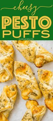 Cheesy Pesto Puffs  only 4 ingredients Great as an appetizer or an accompaniment to your meal Can assemble ahead of time and freeze for later Thes