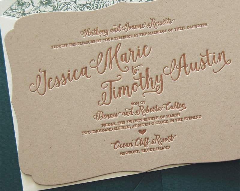 Letterpress Wedding Invitations Diy   Art Deco Wedding Invite ...