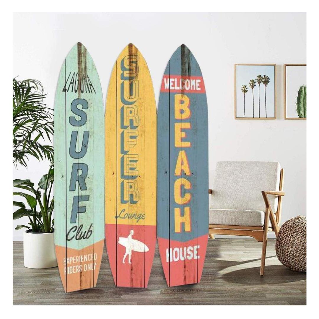 Contemporary 3 Panel Wood Screen With Surfboard Design Multicolor Bm205874 By Casagear Home Reisewand Haus Und Garten Meeresrauschen