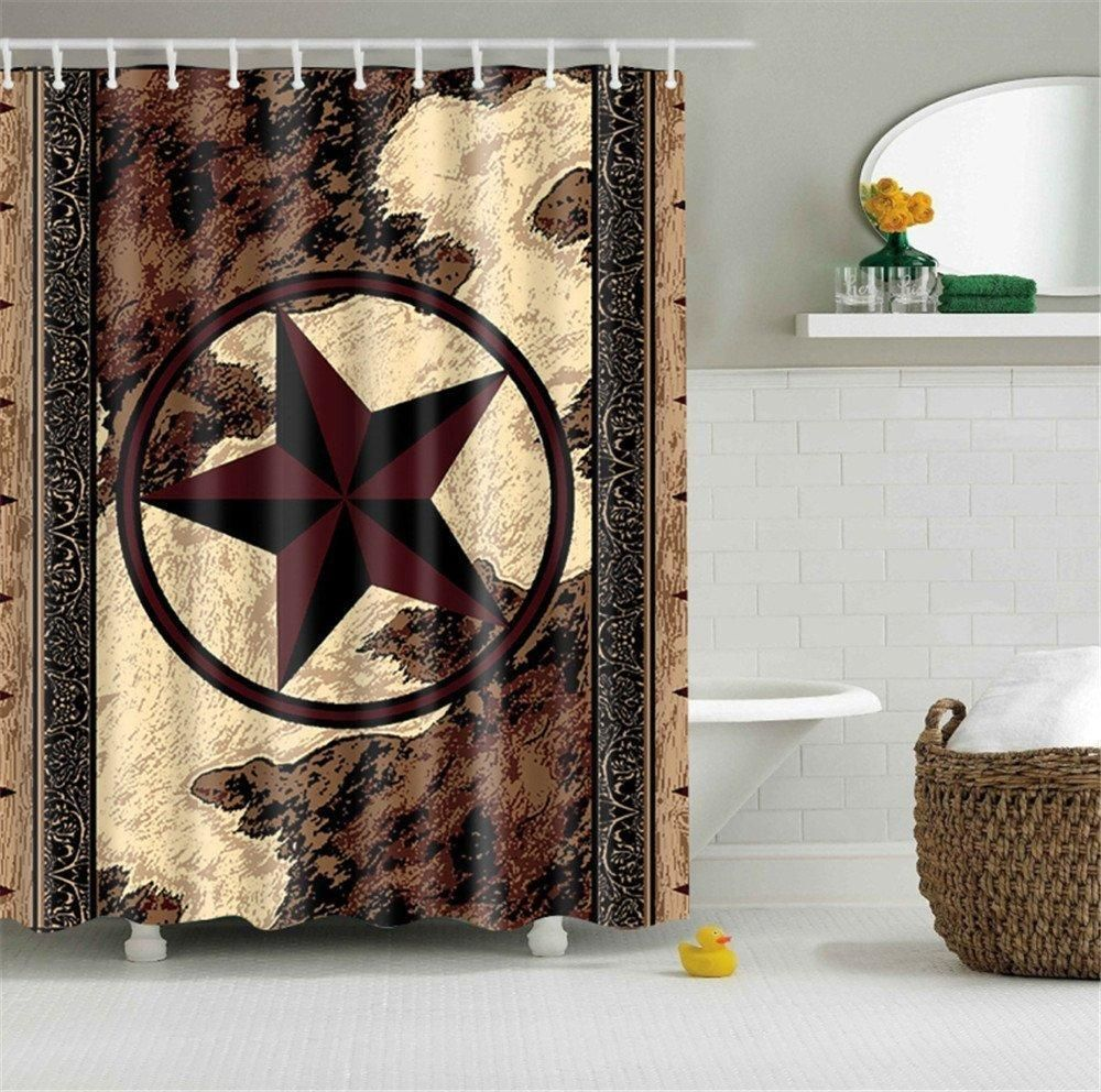 Western Texas Star Bathroom Shower Curtain With 12 Hooks Anti Bacterial Decor Art Prints Wate With Images Western Bathroom Decor Western Bathrooms Bathroom Shower Curtains