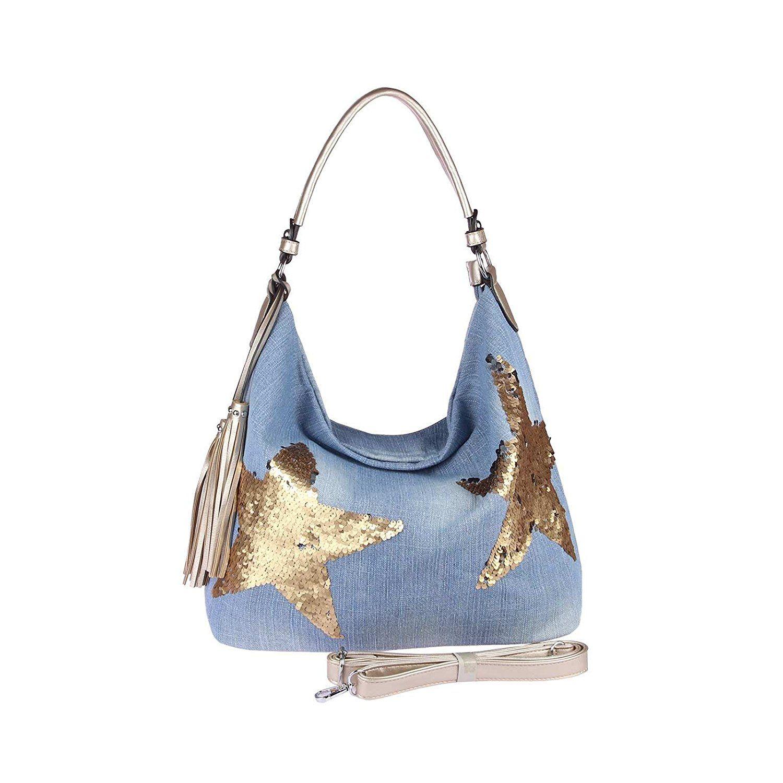 Obc Ital Design Xxl Damen Stern Tasche Handtasche Canvas Baumwolle