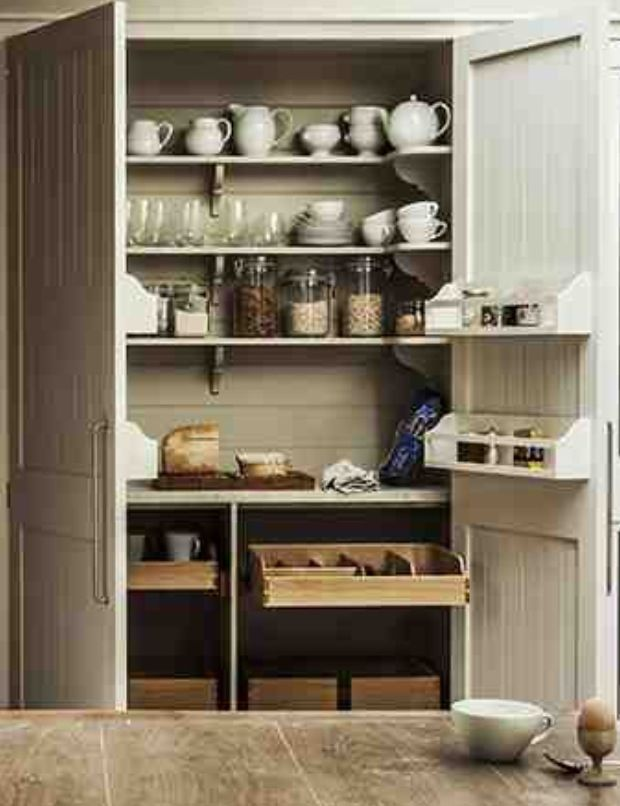 Built in storage cabinets plain english home kitchens for Ikea dispensa