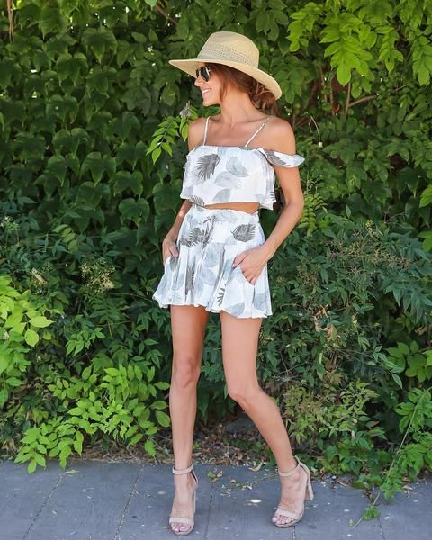 Palm Life Off The Shoulder Babydoll Top