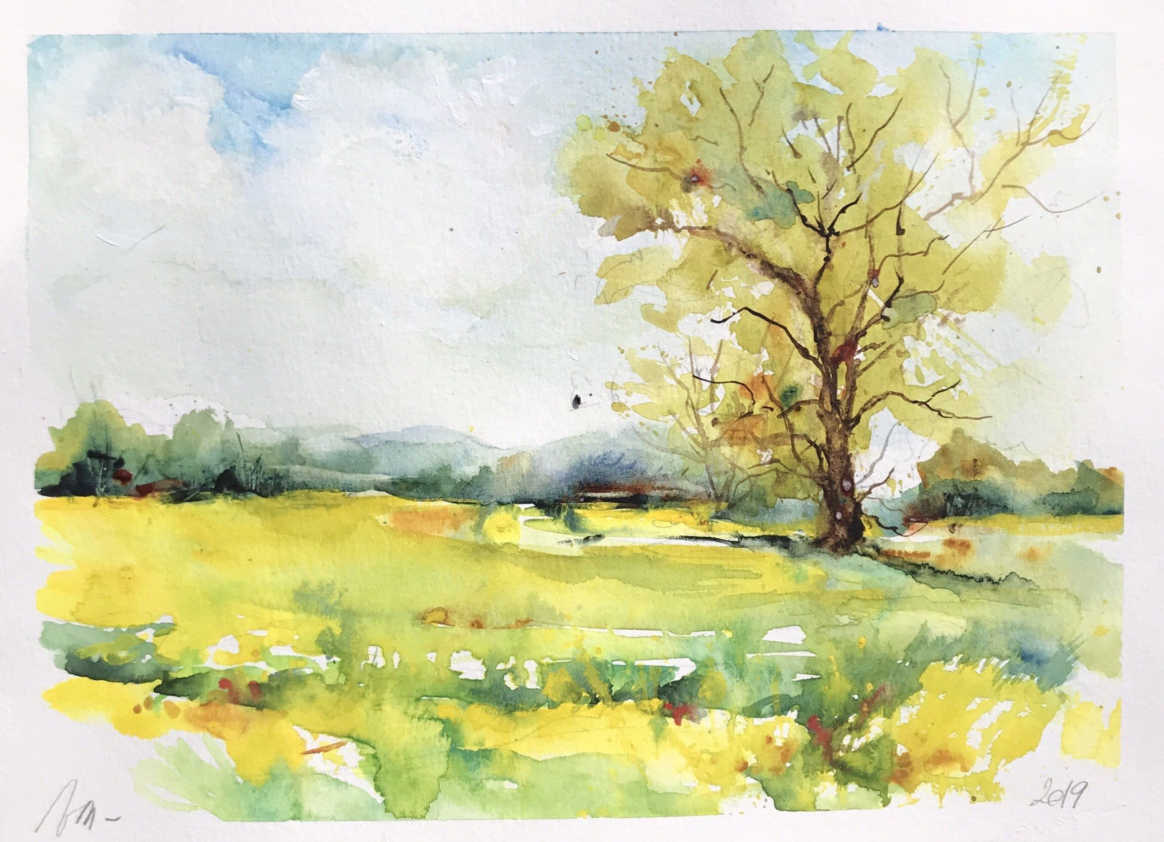Aquarelle Peinture Originale Champ De Colza Au Printemps
