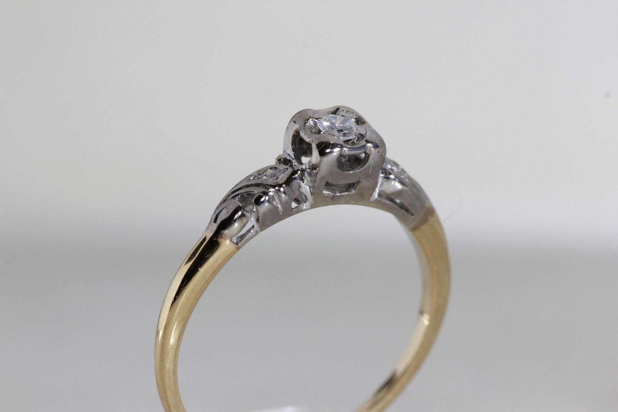 Antique 1940 S Vintage Engagement Ring 14k White Yellow Gold Diamond Ring Illusion Setting Vintage Engagement Rings Pink Tourmaline Engagement Ring Yellow Gold Diamond Ring