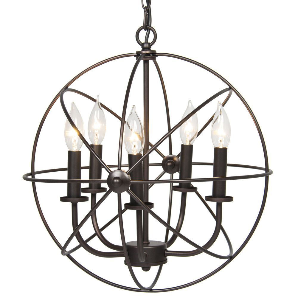 Industrial Vintage Lighting Ceiling Chandelier 5 Lights Metal Hanging Fixture #BestChoiceProducts