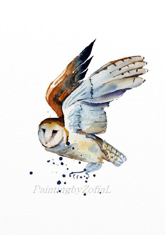 barn owl original watercolor painting flying owl  birds woodland animals  A4 21 x 29.7 cm (8,3 x 11,7 in)