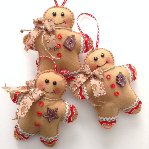 Gingerbread Christmas Ornaments / Gingerbread Felt Xmas Ornaments
