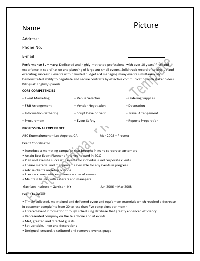event coordinator resume template resume pinterest template