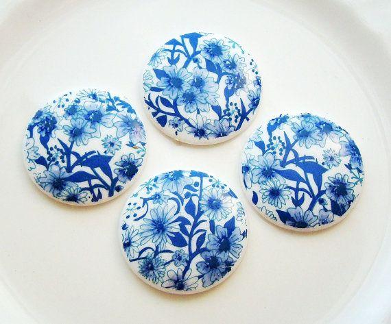 Vintage Blue and White Floral Chintz 28mm by alyssabethsvintage