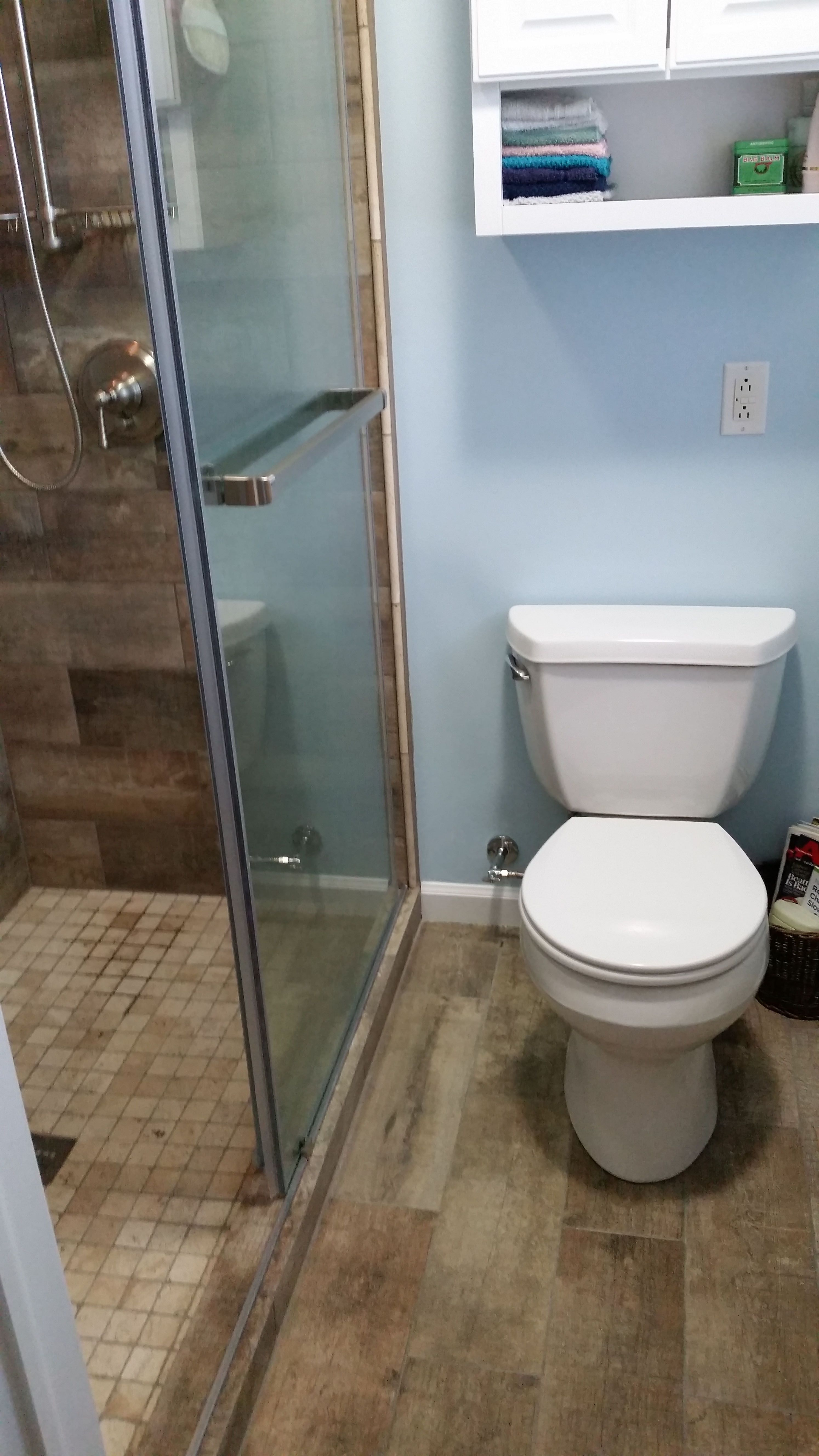 Bathroom renovation by Susan C. of Geneseo, NY. Removing the tub and ...