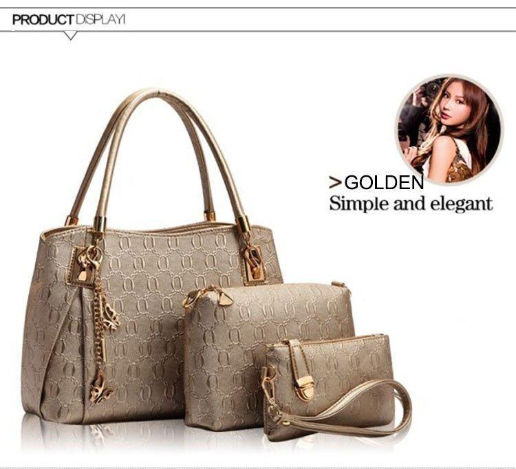 New 2015 women handbags leather handbag women messenger bags ladies brand designs bag bags Handbag+Messenger Bag+Purse 3 Sets