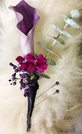 Boutonniere for a hot pink and purple wedding at the San Francisco Zoo. A purple call and pink dianthus mixed with spiral eucalyptus will bring out the wild side of any man! Flowers by Seasonal Celebrations, http://www.seasonalcelebrations.com