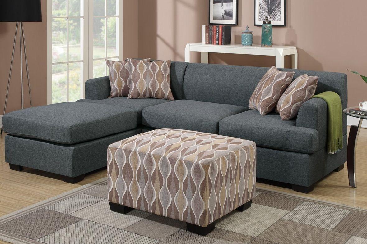 Poundex Montreal F7973 F7972 Grey Fabric Sofa And Loveseat Set