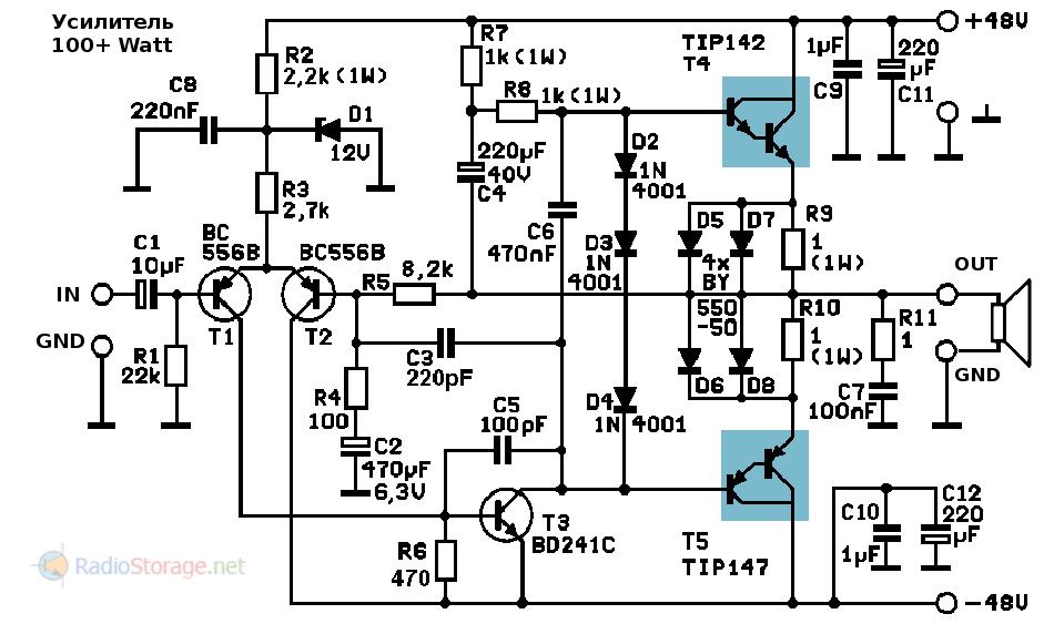 Принципиальная схема транзисторного усилителя мощности на