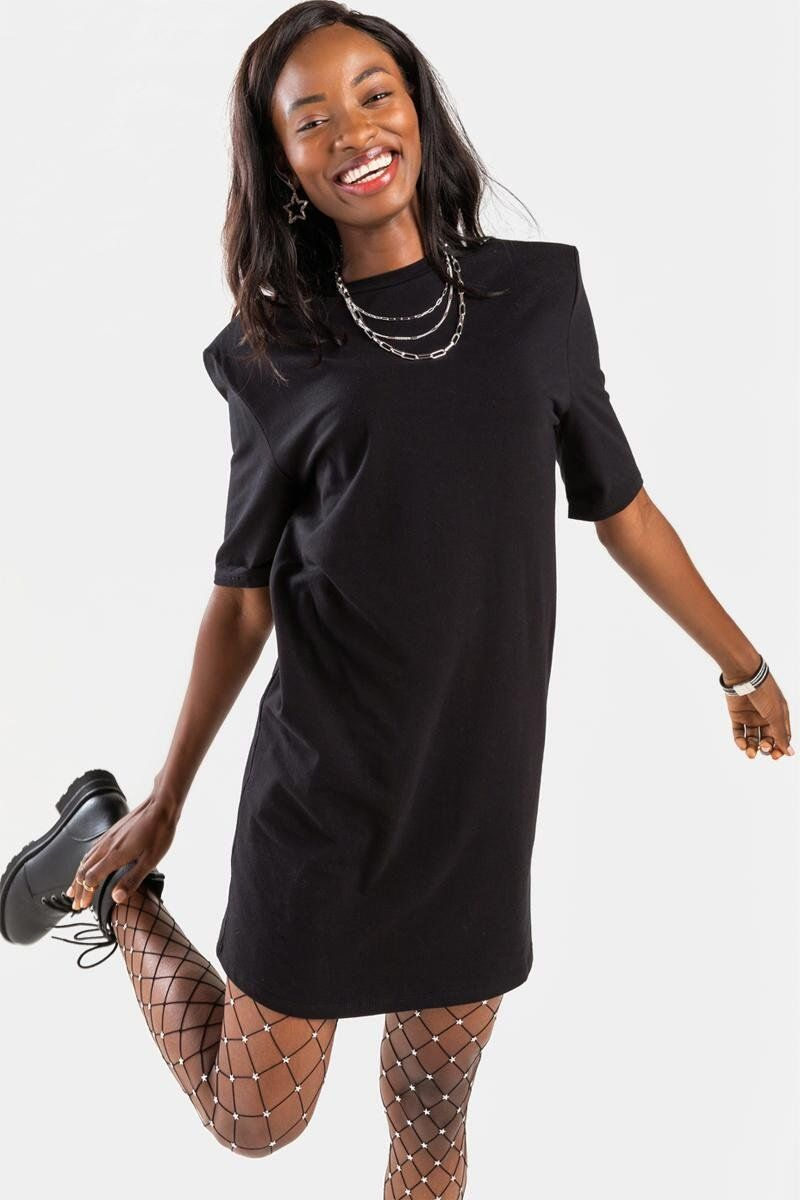 Erin Shoulder Pad T Shirt Mini Dress In 2021 Mini Shirt Dress Mini Black Dress Dresses [ 1200 x 800 Pixel ]