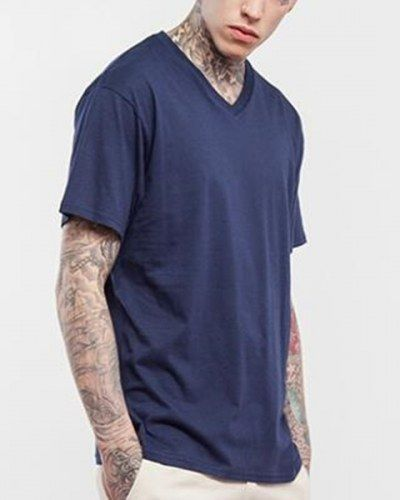 b26a404d139 Mens plain black V neck t shirt short sleeve