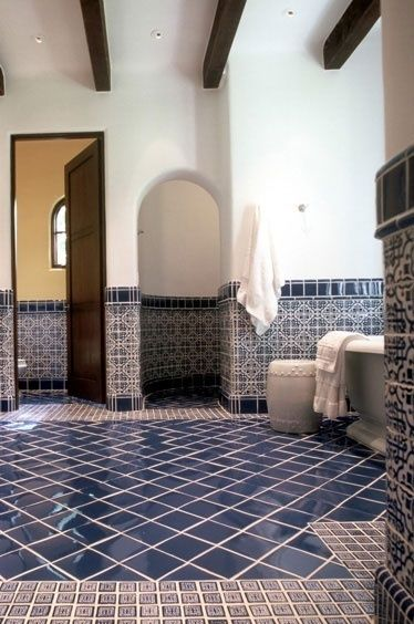 Blue Spanish Tile Spanish Colonial Bath With Beautiful