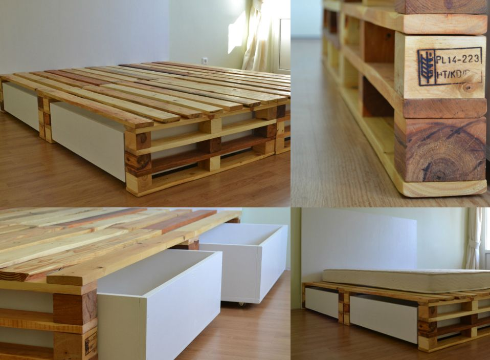 pallet bed with storage pinteres. Black Bedroom Furniture Sets. Home Design Ideas