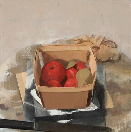 Small Red Apples in a Berry Box  oil on linen  9 1/8 x 9 1/8 inches/ walp  SOLD