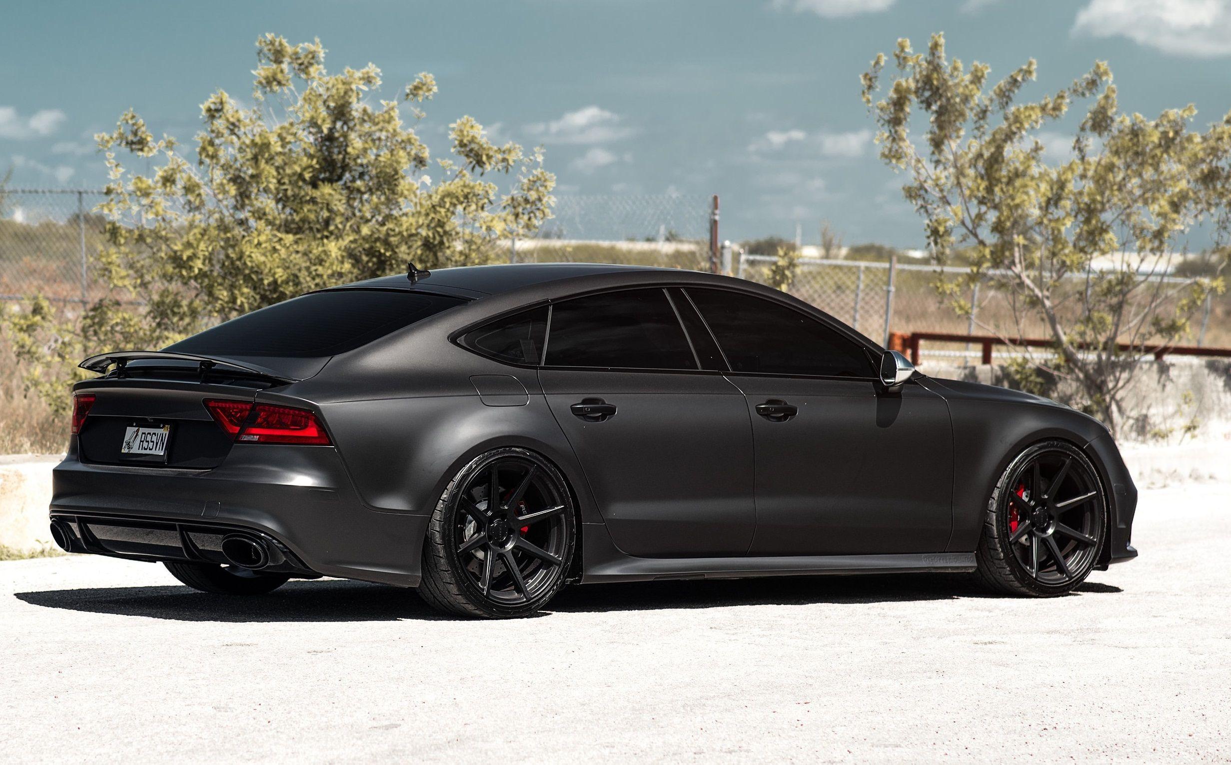 Matt Black Audi Rs7 On Velgen Wheels Black Audi Audi Cars Audi Rs7