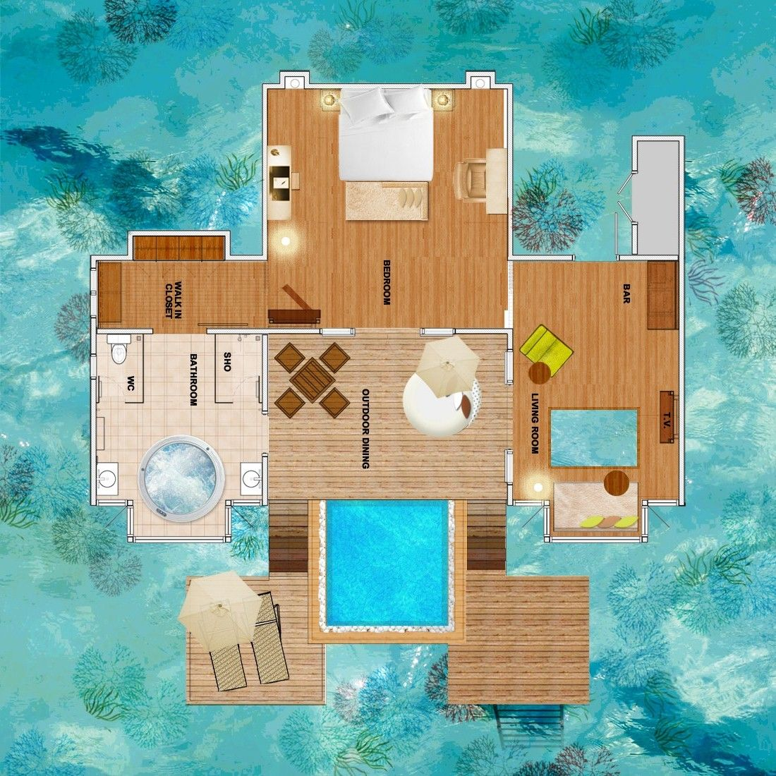 Luxury Homes On The Water: Overwater Bungalow Floor Plan - Google Search