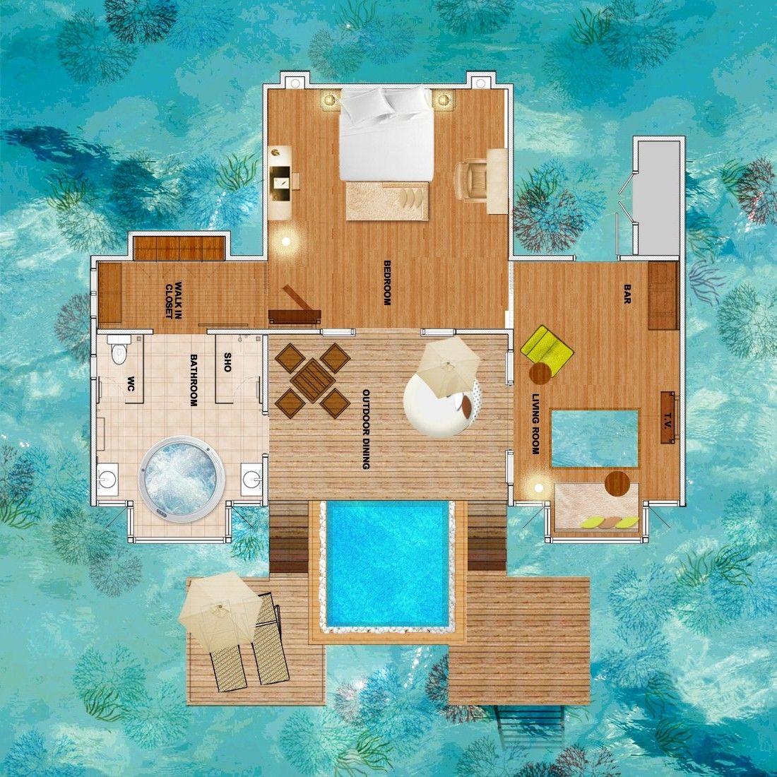Overwater Bungalow Floor Plan - Google Search