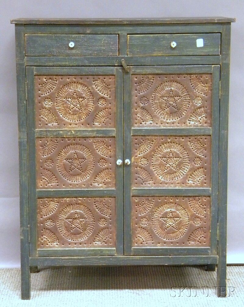 Attirant Blue Painted Wood And Punched Tin Panel Two Door Pie Safe...~♥~