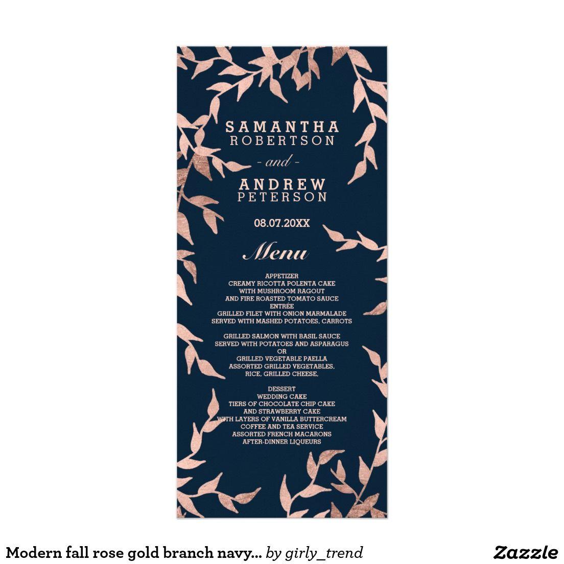 Modern fall rose gold branch navy wedding menu
