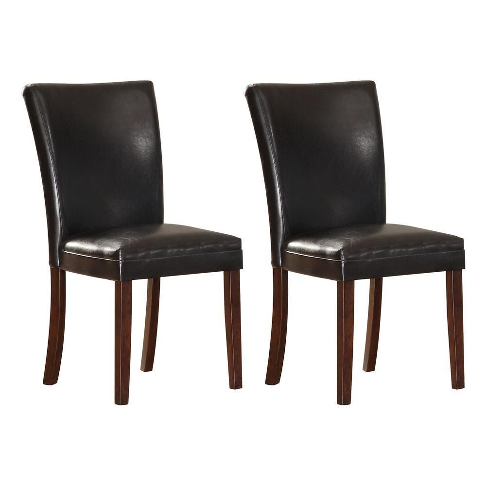 Black Bicast Leather Dining Chair Set Of 2 Brown