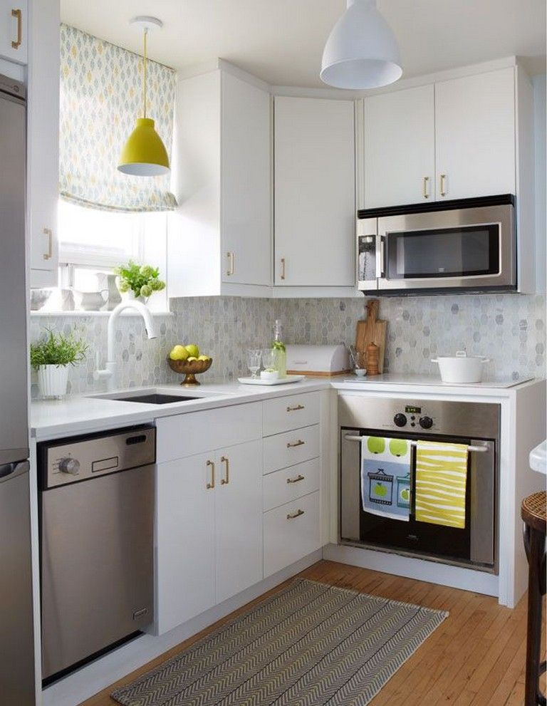 34 Best Small Kitchen Design Ideas To Try This Year Small Apartment Kitchen Decor Small Apartment Kitchen Kitchen Decor Apartment